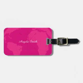 Classy Pink World Map with Compass Rose Monogram Bag Tag