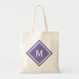 Classy Purple Diamond Monogram Tote Bag