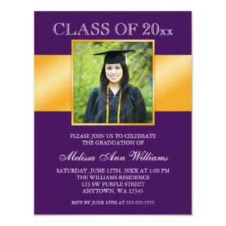 """Classy Purple Gold Photo Graduation Announcement 4.25"""" X 5.5"""" Invitation Card"""