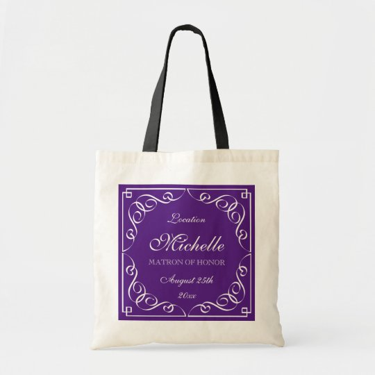Classy purple matron of honour wedding tote bags