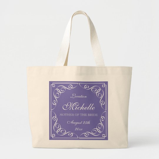 Classy purple mother of the bride wedding tote