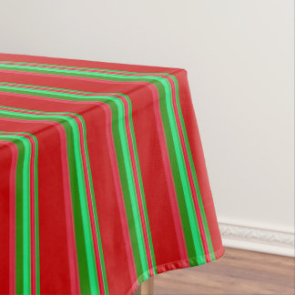Classy Red and Green Stripes Tablecloth