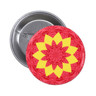 Classy Red and Yellow Geometric Flower Pattern 6 Cm Round Badge