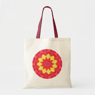 Classy Red and Yellow Geometric Flower Pattern Canvas Bag