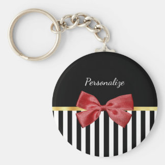 Classy Red Bow Black and White Stripes With Name Basic Round Button Key Ring