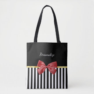 Classy Red Bow Black and White Stripes With Name Tote Bag