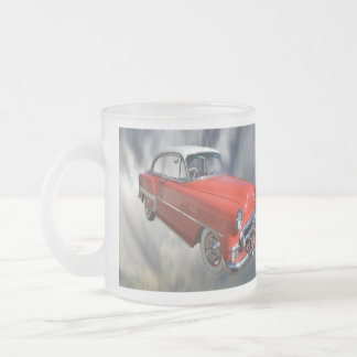 Classy Red Classic Car, Frosted Glass Mug.. Frosted Glass Coffee Mug