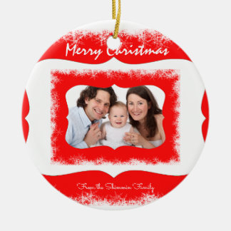Classy Red Family Ornament Your Photo
