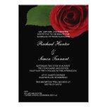Classy Red Rose Wedding Invitiation -Black Invites