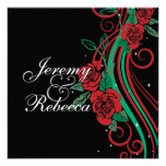 Classy Red Roses and green swirls on black wedding Personalised Invites