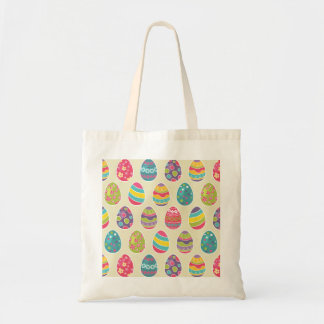 Classy Retro Easter Eggs Happy Easter Day Budget Tote Bag