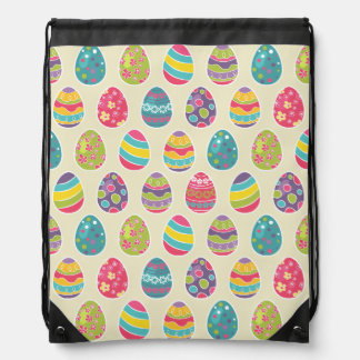 Classy Retro Easter Eggs Happy Easter Day Drawstring Bag