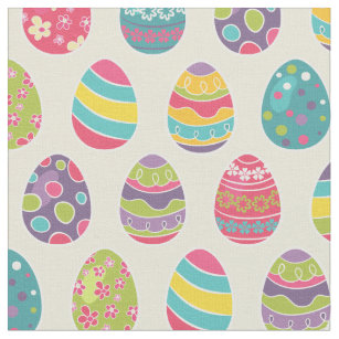Classy Retro Easter Eggs Happy Day Fabric