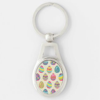 Classy Retro Easter Eggs Happy Easter Day Silver-Colored Oval Key Ring