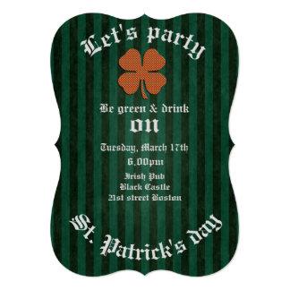 Classy retro Irish lucky shamrock 5x7 Paper Invitation Card