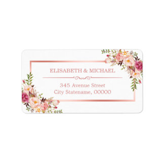 Classy Rose Gold Frame Elegant Floral Decor Address Label