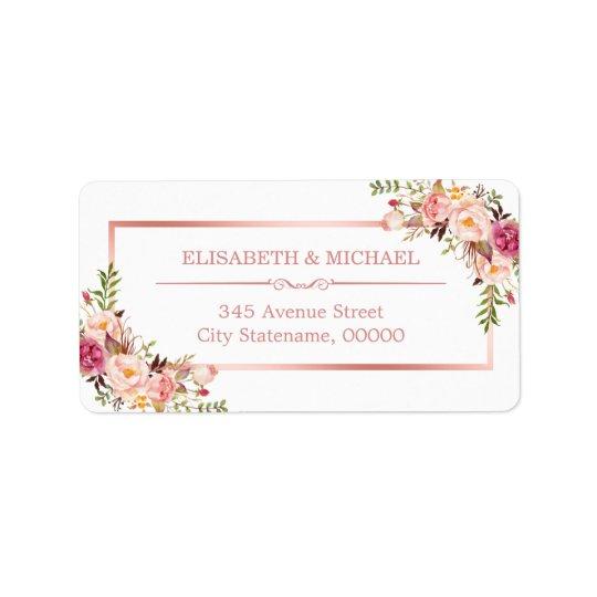 Classy Rose Gold Frame Elegant Floral Decor Address