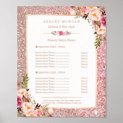 Classy Rose Gold Glitter Floral Beauty Salon Menu