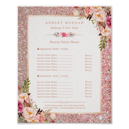 Classy Rose Gold Glitter Floral Beauty Salon Menu