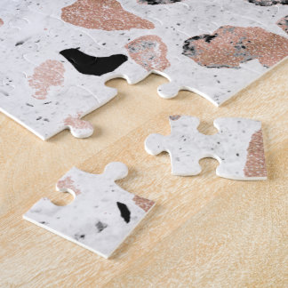 Classy rose gold vintage marble abstract terrazzo jigsaw puzzle