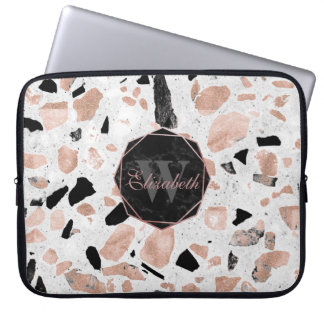 Classy rose gold vintage marble abstract terrazzo laptop sleeve