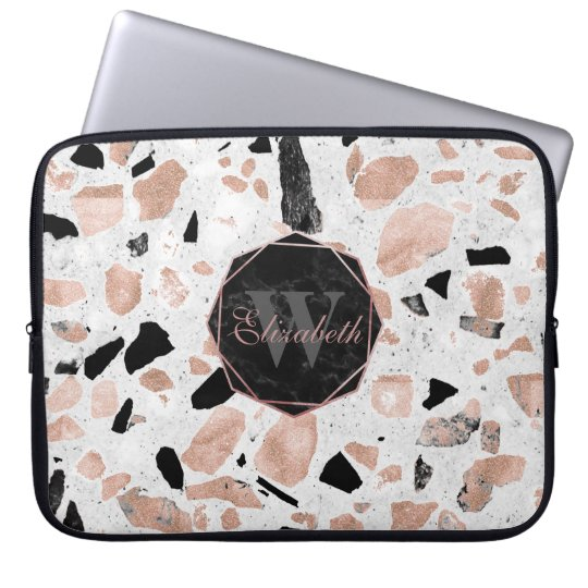 Classy rose gold vintage marble abstract terrazzo laptop
