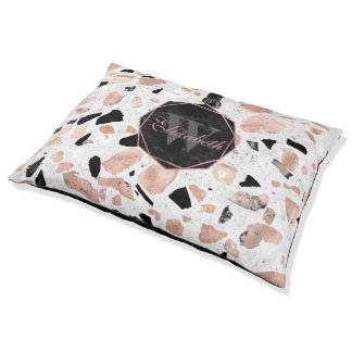 Classy rose gold vintage marble abstract terrazzo pet bed