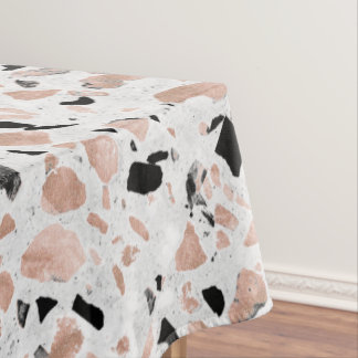 Classy rose gold vintage marble abstract terrazzo tablecloth