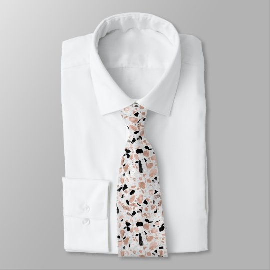 Classy rose gold vintage marble abstract terrazzo tie