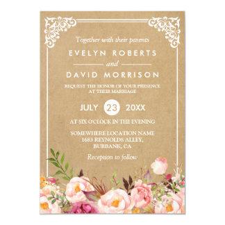 Classy Rustic Floral Frame Kraft | Formal Wedding 13 Cm X 18 Cm Invitation Card