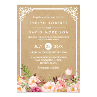 Classy Rustic Floral Frame Kraft | Formal Wedding Card