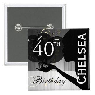 Classy Silhouette Birthday Girl 15 Cm Square Badge