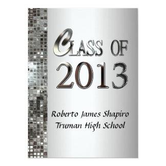 """Classy Silver 2013 Graduation Invitations 5.5"""" X 7.5"""" Invitation Card"""