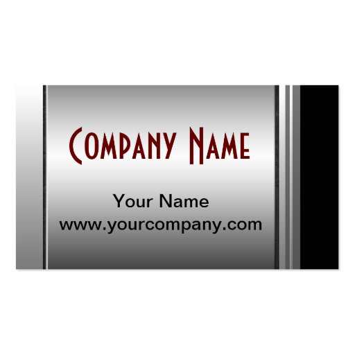 Classy Silver, Black And Red Business Cards