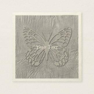 Classy Silver Butterfly Silk Disposable Serviette