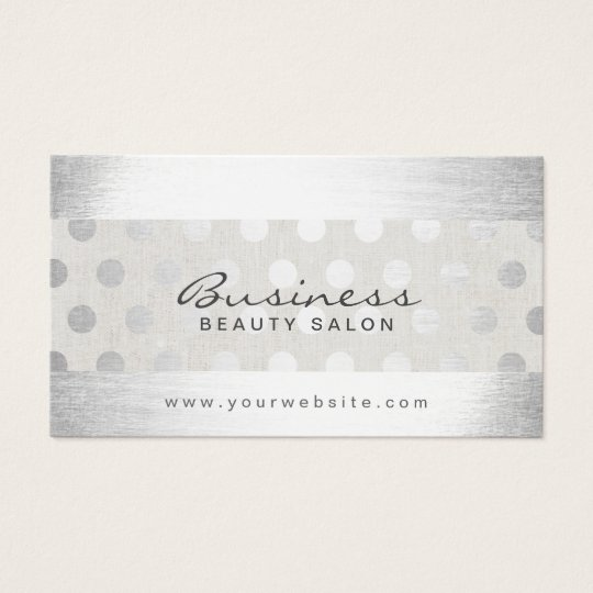 Classy Silver Dots Modern Beauty Salon Appointment Business Card