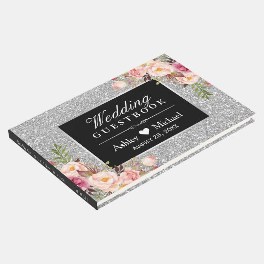 Classy Silver Faux Glitter Sparkles Floral Wedding Guest