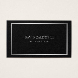 Classy Silver Frame Minimalist on Black Business Card