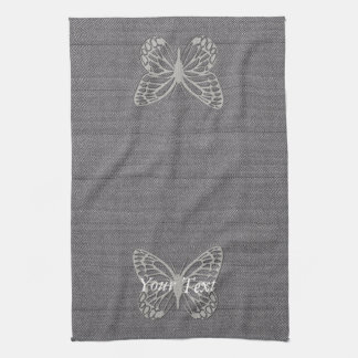 Classy Silver Grey Butterfly Textured Tea Towel