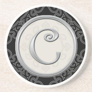 Classy Silver Monogram Initial Beverage Coasters