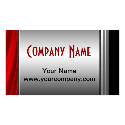 Classy Silver, Red And Black Business Cards