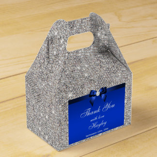 Classy Silver Sequins Blue Bow Diamond Party Favour Box