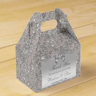 Classy Silver Sequins Bow Diamond Favour Boxes