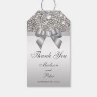 Classy Silver Sequins Bow Thank You