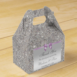 Classy Silver Sequins Lilac Bow Diamond Favour Boxes