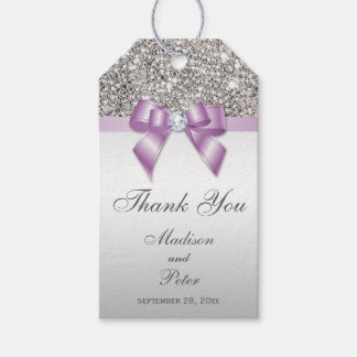 Classy Silver Sequins Lilac Bow Thank You Gift Tags