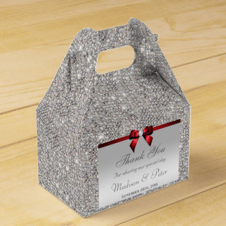 Classy Silver Sequins Red Diamond Bow Wedding Favour Box