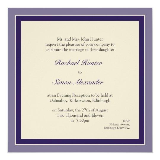 Classy Simple Wedding Invitation - Purple