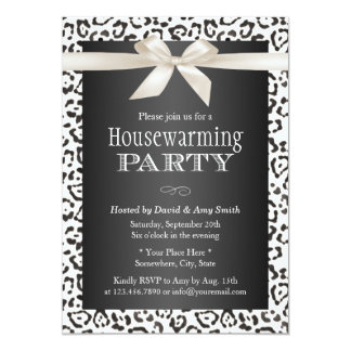 Classy Snow Leopard Print Housewarming Party Card