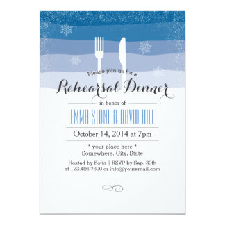 Classy Snowflakes Winter Wedding Rehearsal Dinner 5x7 Paper Invitation Card